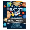 space planet rocket birthday party invitation