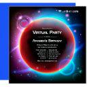 space themed virtual birthday party invitation