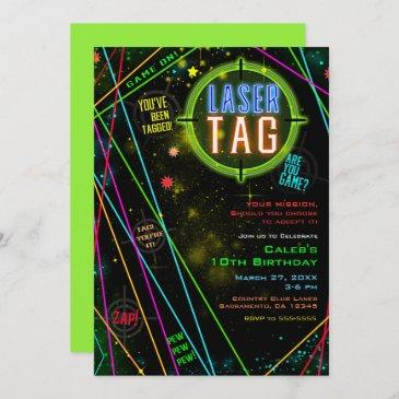 spacey cosmic lights laser tag birthday party invitation