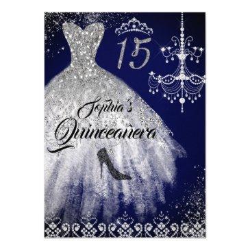 sparkle diamond dress navy quinceanera invitation