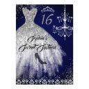 sparkle diamond dress navy sweet 16 invitations