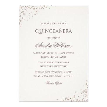 Small Sparkle Dress Pink Rose Gold Quinceanera Invite Back View