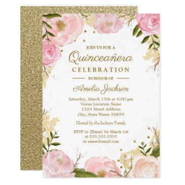 sparkle floral pink gold quinceanera invitations