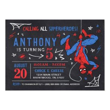 Small Spider-man Chalkboard Birthday Invitation Front View