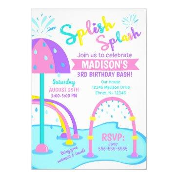 splash pad birthday invitation / water park / girl