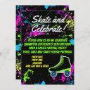 splatter glow skate roller skating birthday party invitation