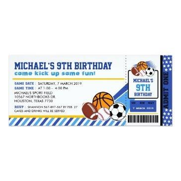 Small Sport All Star Ticket Pass Birthday Invitation Front View