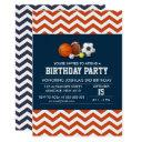 sport chevron theme birthday boy party invitations