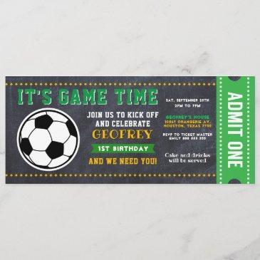 sport soccer chalkboard ticket pass birthday invitation