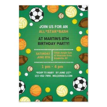 Small Sports Background Invitations Front View