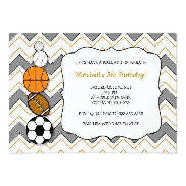 Small Sports Balls Birthday Party Invites Front View