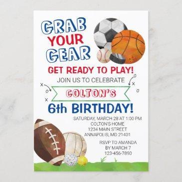 sports birthday invitation, sports birthday party, invitation