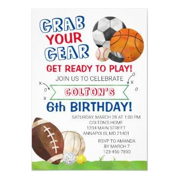sports birthday invitation, sports birthday party, invitation