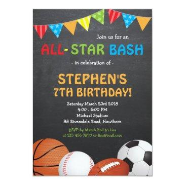 sports birthday invitations / sports invitations