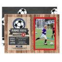 sports photo soccer football photo star birthday invitation