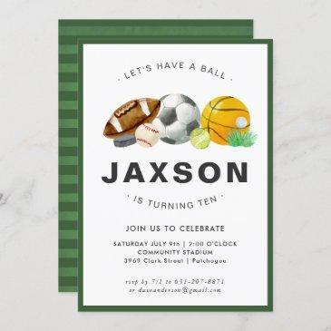 sports themed birthday party invitation