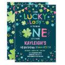 st. patrick's birthday invitation lucky lady party