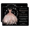 star shimmer peach quinceanera invitation