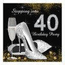 stepping into 40 birthday party silver gold invitations
