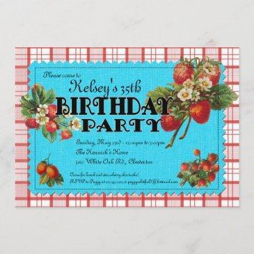 strawberry birthday party invitation