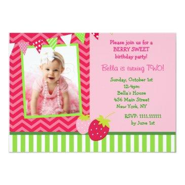 strawberry photo birthday party invitations