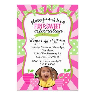 strawberry photo first birthday party invitation