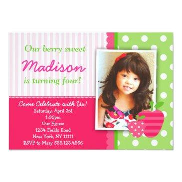 strawberry pink green birthday party invitations