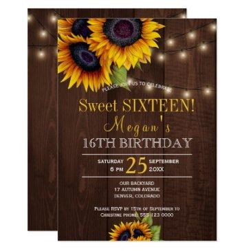 string lights sunflowers chic rustic sweet sixteen invitations