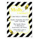 striped bumble bee birthday party invitation