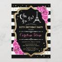 stripes pink roses french style birthday party invitation