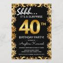 stylish black & gold 40th surprise birthday party invitation