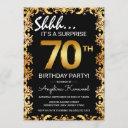stylish black & gold 70th surprise birthday party invitation