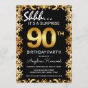 stylish black & gold 90th surprise birthday party invitation