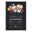 sugar skulls day of the dead birthday party invitation