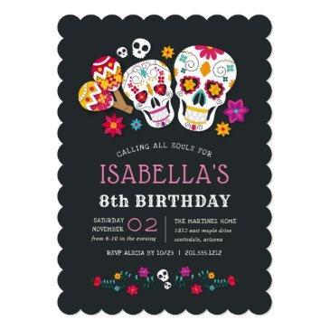 sugar skulls day of the dead birthday party invitation