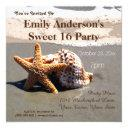 summer beach starfish seashell sweet 16 birthday invitation