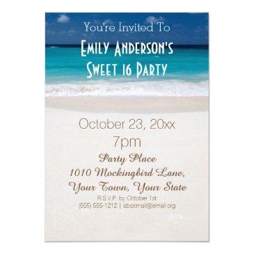 Summer Beach Theme Blue Sweet 16 Birthday Invitations
