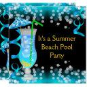 summer blue cocktail beach pool party invitations