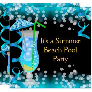 summer blue cocktail beach pool party invitation