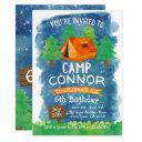 summer camp , camping birthday invitation