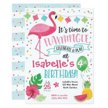 summer flamingo birthday invitations, flamingle invitations