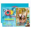 summer photo pool party birthday invitation
