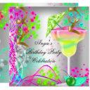 summer pink birthday party colorful cocktail invitations
