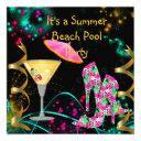 summer pink black beach pool party invitation
