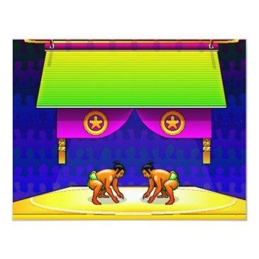 sumo wrestling party birthday invite invitations