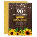 sunflower 90th birthday invitations . any age