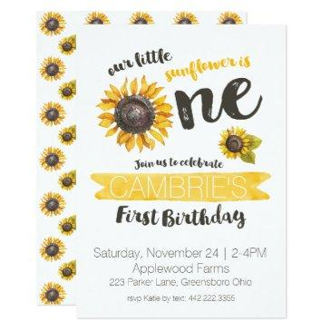 sunflower first birthday invitation