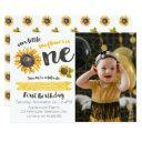 sunflower first birthday photo invitation