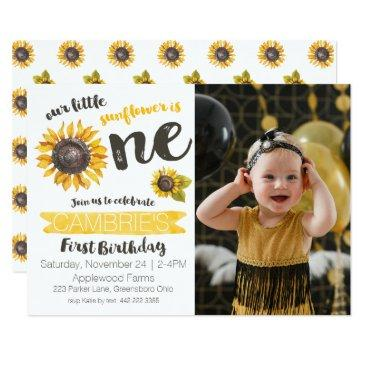 sunflower first birthday photo invitations