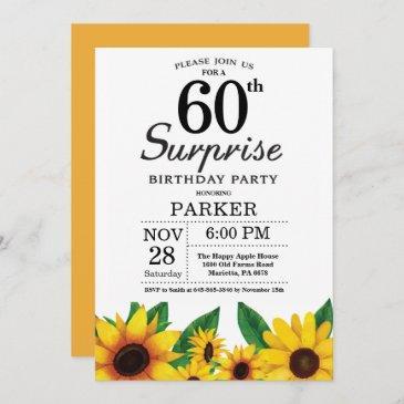 sunflower surprise 60th birthday invitation